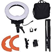 Safstar 12 LED Ring Light Flash Video Light 35W 5600K Dimmable with Stand, Plastic Color Filter Set, Carrying Case for Smartphone, Youtube, Vine Self-Portrait Video Shooting