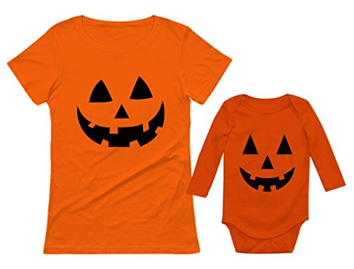 Jack O' Lantern Pumpkin Mom & Baby Matching Set Funny Halloween Costume Shirts Mom Orange Small/Baby Orange NB (0-3M)