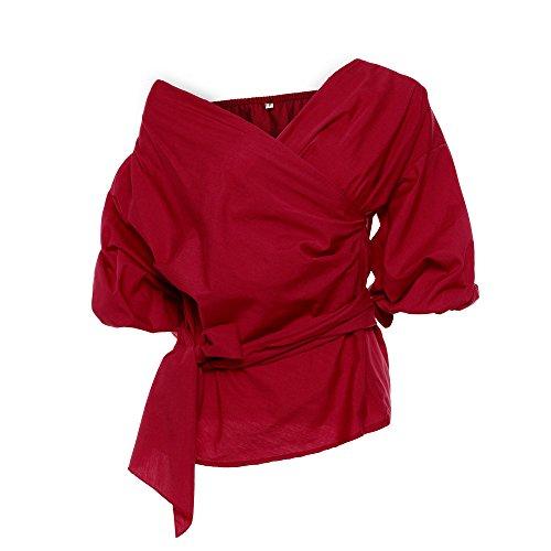 L Dimensione Chic Off Rosso Camicetta Heeecgoods Donna Spalla Vino Casual Summer Rosso Fasciatura Camicia Sexy colore 4qpnwfR
