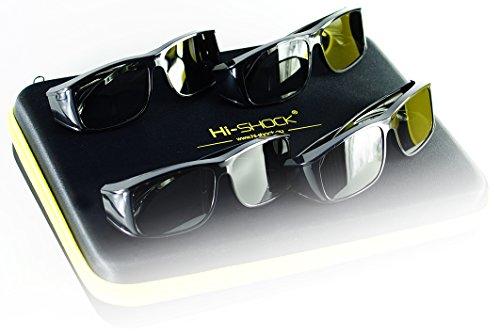 Hi-SHOCK® 4er-Pack passive 3D-Brille für 4K 3D TV 's von LG® Philips®, Grundig®, Löwe®, Sony®, Panasonic®, Toshiba® | kompatibel mit AG-F420 / PTA417 / ZCW000 / ART 32 / TDG500P / TY-EP3D20E / PX1821E-1TVA | inkl. QuadCase + 3 Jahre Garantie [ Polarisations-3D-Technologie | Schwarz | 4er Pack ]
