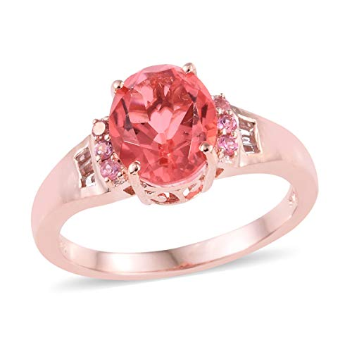 Promise Ring 925 Sterling Silver Vermeil Rose Gold Triplet Coral Quartz White Topaz Jewelry for Women Size 5 Ct - Vermeil Topaz Ring