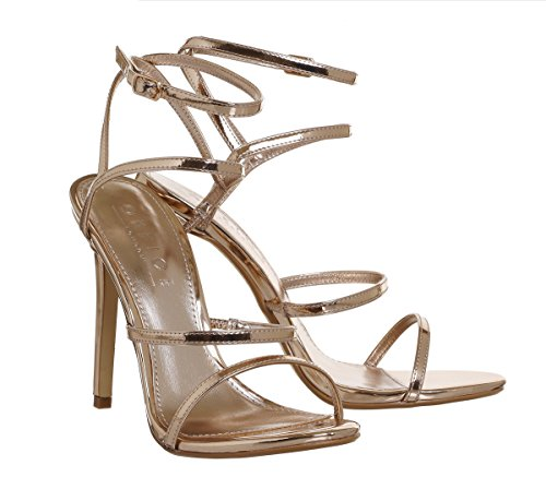 Office Halo Strappy Sandals Rose Gold Mirror ZCUNFtVx