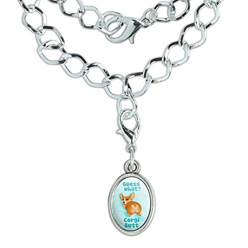 GRAPHICS & MORE Guess What Corgi Butt Funny Joke Silver Plated Bracelet with Antiqued Oval ()
