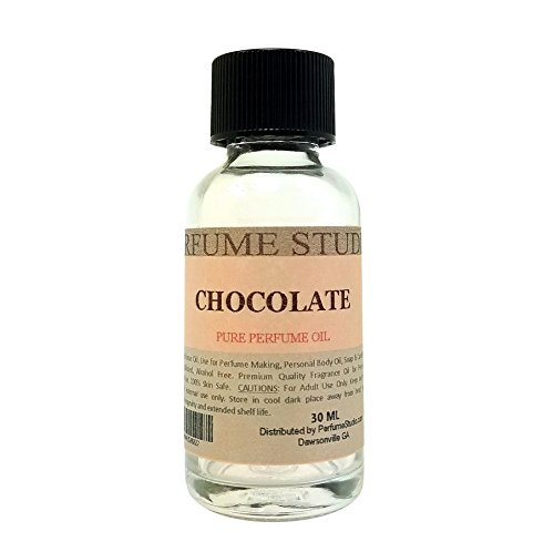 Chocolate Perfume Oil for Perfume Making, Personal Body Oil, Soap, Candle Making & Incense; Splash-On Clear Glass Bottle. Premium Quality Undiluted & Alcohol Free (1oz, Chocolate Fragrance Oil)