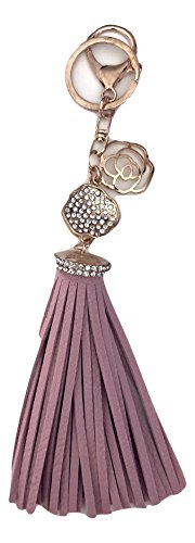 Chain Pave Ring - Rose Fringe Tassel Key Chain Ring with Crystal Pave Rose - Mother's Day Gift