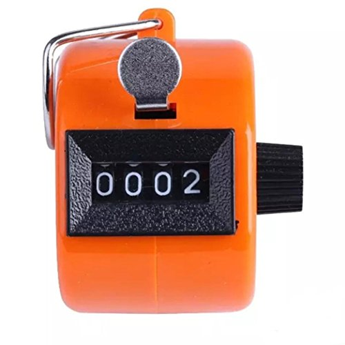 Clearance ! ღ Ninasill ღ Exclusive Color Digital Hand Held Tally Clicker Counter 4 Digit Number Clicker Golf Chrome (Orange) - Exclusive Desktop