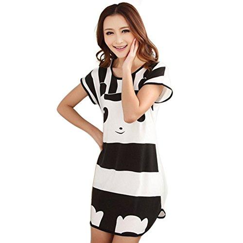 ETopLike Women's Sleep Dress Long Length Nightshirt Mixed One Size (Stripe (Sleep Sleepshirt)
