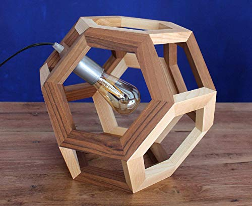 GANIMEDE pendant lamp in walnut and ash wood, table lamp, truncated octahedron ()