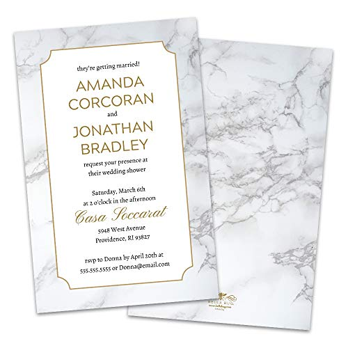 (Personalized Gray & White Marble Wedding Shower Invitation)