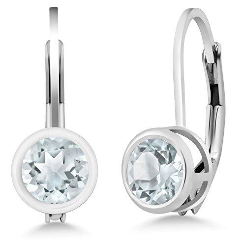 Gem Stone King 0.44 Ct Round Sky Blue Aquamarine 925 Sterling Silver Earrings ()