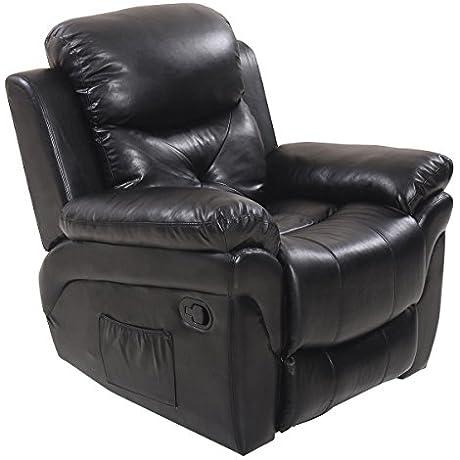 Tangkula Recliner Massage Sofa Rocking Lounge Chair Heated Swivel Executive W Control Black