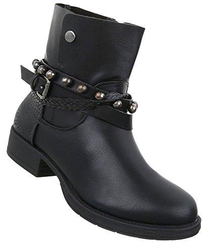 Damen Stiefeletten Leder-Optik | Chelsea Boots | Kurzschaft Stiefelette | Knöchelhohe Stiefel | Used Stiefelette | Weiße Plateau Sohle Stiefelette | Schuhcity24 Schwarz