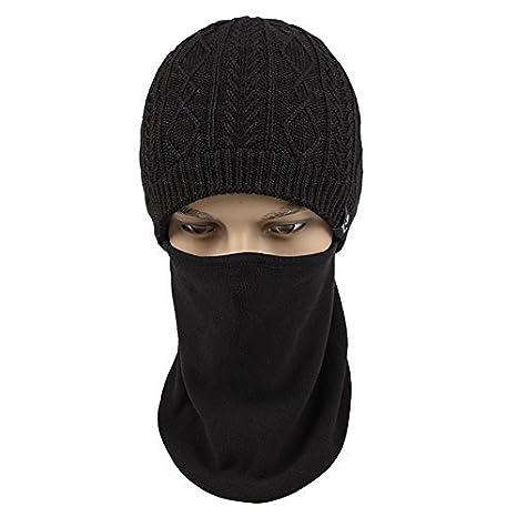 c1f5558ea23 Kenmont Winter Outdoor Warm Men Knit Balaclava Earflap Beanie Hat Peak Mask  Cap (Black Color) at Amazon Men s Clothing store