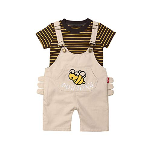 Baby Boys 2 Piece Plaid T-Shirt Suspender Denim Shorts Bib Pants Leisure Clothing Set Gentleman Outfits Suits (2-3 Years, White bee)