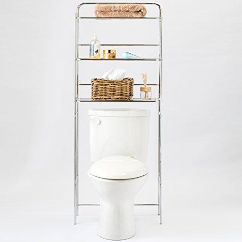 Chrome Bathroom Shelves Over Toilet: 3 Tier Chrome Plated Metal Over-the-Toilet Bathroom
