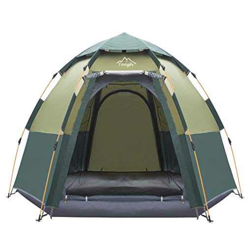 Toogh 3-4 Person Camping Tent Backpacking Tents Hexagon Waterproof Dome Automatic Pop-Up Outdoor Sports Tent Camping Sun Shelters (Best Tent For Burning Man)
