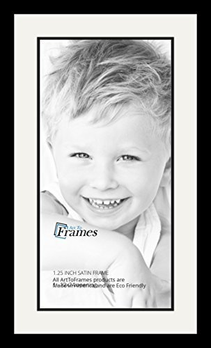 ArtToFrames Collage Photo Frame Double Mat with 1-12x24 Openings with Satin Black Frame and Porcelain mat.