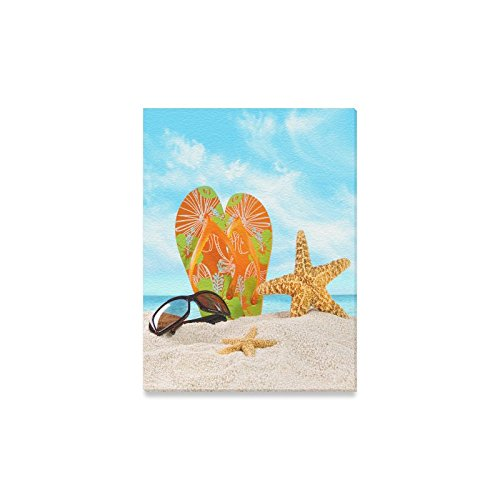 Canvas Print Valentine's Day Gifts Sunglasses Flip Flops Starfish On Beach Design Modern Wall Art for Home Room Office Decoration (12x16 - Charlotte Sunglasses Nc