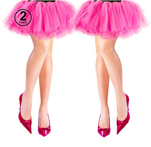 Tigerdoe 80s Costumes for Women - 2 Pack - 80s Accessories - 80s Clothes for Women - Tutus for Women Pink ()
