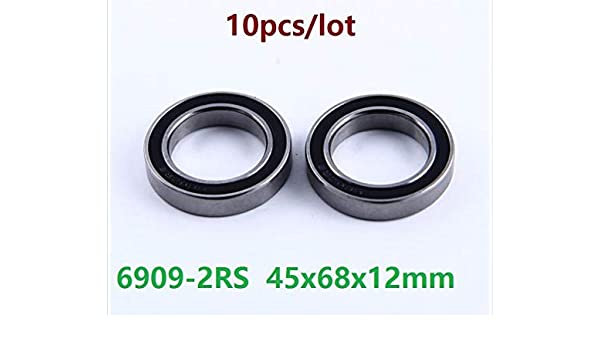 6909-2RS two side rubber seals bearing 6909-rs ball bearings 6909 rs Qty. 10