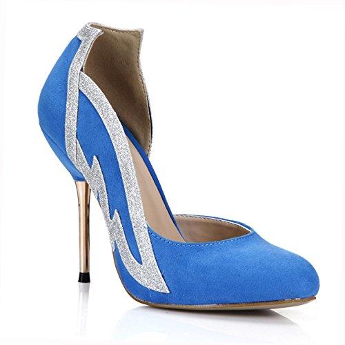 Best 4U® Sandalias de primavera de las mujeres de terciopelo elástico punta estrecha 10.7 CM Tacones de metal de alta suela de goma azul , EU36