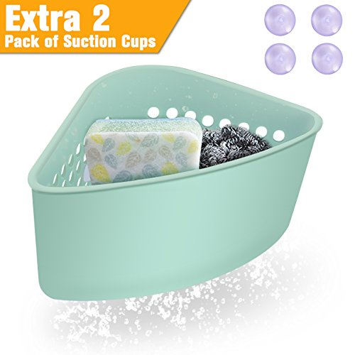 DEALIKEE Multifunctional Plastic Drain Basket | Double Suction Triangle Storage Sink Holder | Grid Strainer Rack with 2 PCS Extra Suckers Replacement.(Green, 4 Suckers Totally)