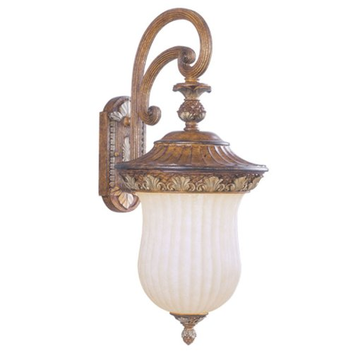 Livex Lighting 8490-57 Outdoor Wall Lantern with Vintage Carved Scavo Glass Shades, Venetian Patina