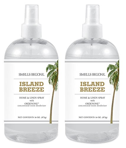Smells Begone Air Freshener Home and Linen Spray - Odor Eliminator Concentrated Deodorizer - Neutralizes Odors at The Source - Made with Natural Essential Oils - 16 Ounces (2 Pack, Island Breeze) - Fragrance Spray Concentrated Home