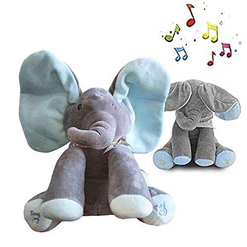 (Peek-a-Boo Elephant Animated Talking Singing Stuffed Plush Doll,Elephant Baby Cute Stuffed Doll Toys for Tollder Kids Boys Girls Gift Present (Blue))