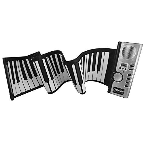[해외]LeaningTech 61 / 88 짙은 키 전자식 롤업 피아노, Protable 유연한 키보드, 디지털 신디사이저, 미디, 어린이, 초보자 용, Black & Whi/LeaningTech 61 / 88 Thi