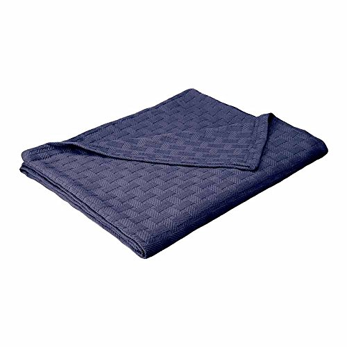 Basket Weave Blanket - 100% Soft Premium Cotton Blanket - Perfect for Layering Any Bed, King, Navy Blue