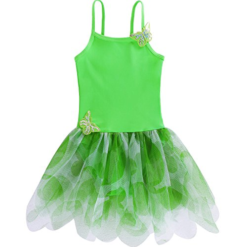 BAOHULU Girls Butterfly Ballet Leotard Tutu Dance Dress 3-8 Years B092_Green_XXL