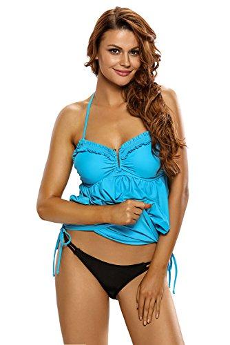 Nuevo Azul halter bikini parte superior una pieza Bañador para disfraz de 2pcs Swimwear Beachwear verano desgaste tamaño S UK 8–�?0EU 36–�?8