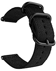 Canvas Nylon Strap (-Black) fits with Samsung Galaxy 46mm band Samsung S3, S4, AND Amazfit Bip Youth AND Huawei Watch GT Honor Magic Smart Watch Wrist Strap (22MM Universal)