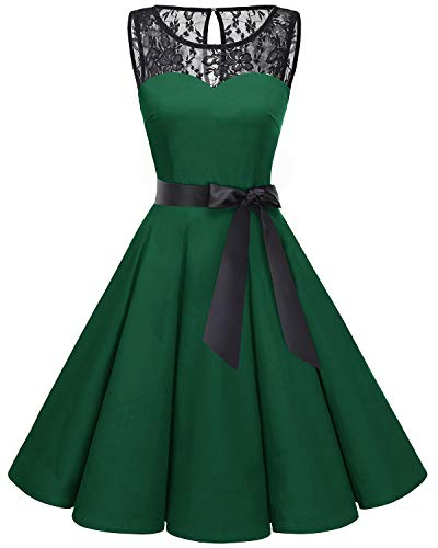 Bbonlinedress Women's 1950s Vintage Rockabilly Swing Dress Lace Cocktail Prom Party Dress Dark Green M -