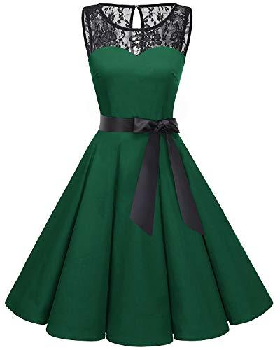 (Bbonlinedress Women's 1950s Vintage Rockabilly Swing Dress Lace Cocktail Prom Party Dress Dark Green 2XL)