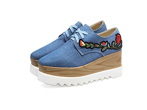 35 Bomba Retro Tamaño Blue talón cuña Eu Toe zapatos Thick de ascensor 4cm Shoelace de Británico Zapatos muffins Mujeres zapatos Casual Denim Bottom 7cm Plataforma 40 Square bordado qr4xO5wnSq