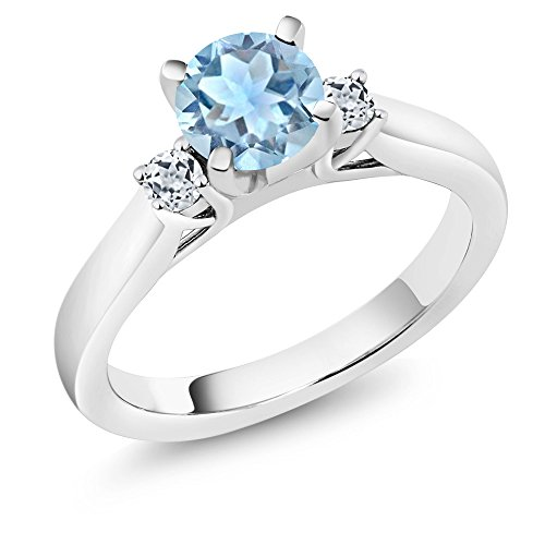 Gem Stone King Sterling Silver Sky Blue Aquamarine and White Topaz 3-Stone Women's Engagement Ring (1.03 cttw Round) (Size 8) (March Birthstone Promise Ring)