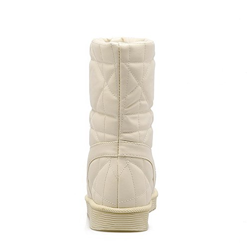 Beige Pull Women's Top Boots Low PU Solid Snow On Heels WeiPoot Low dPgxXqPp