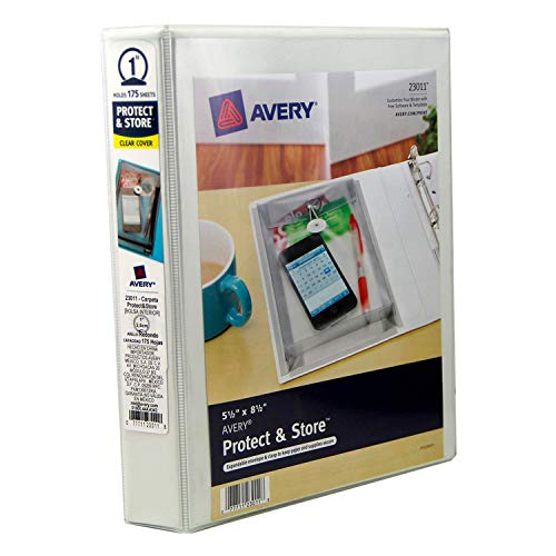 Avery Mini Protect and Store View Binder with 1 Inch EZ-Turn Ring, 5.5 x 8.5 Inches , White - Ez Durable Ring Turn Binders