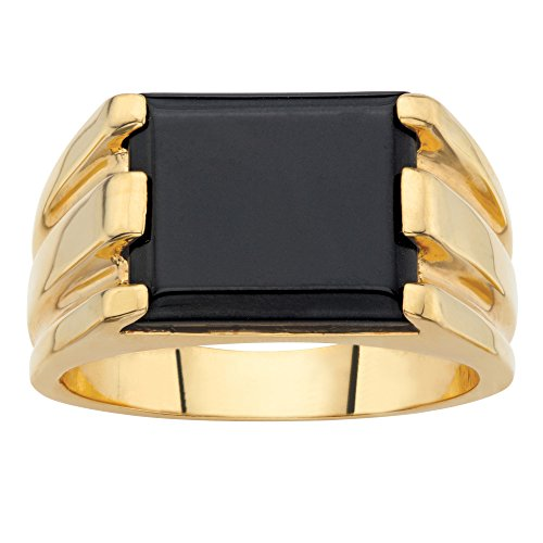 Palm Beach Jewelry 14K Yellow Gold-Plated Rectangular Shaped Simulated Black Onyx Ribbed Ring Size 8