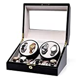[Upgrades]Uptizer Quad Automatic Watch Winder with Quiet Mabuchi Motor,4+6 Watches Storage Box Case for Rolex,Piano Paint,Soft and Flexible Watch Pillows
