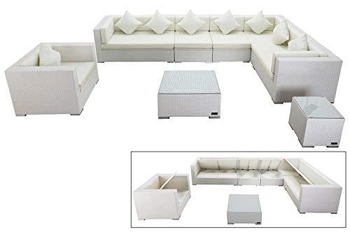 OUTFLEXX Lounge-Set aus hochwertigem Polyrattan in weiß, 3-Sitzersofa, 2-Sitzer + 2 Mittelelemente, 1 Sessel + Beistelltisch + Kaffeetisch, inkl. Polster, für 8 Personen, Boxfunktion, wetterfest