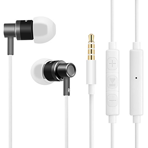 Wired Metal Earbuds with Microphone and Volume Control Noise Cancelling In Ear Buds Headphones Bass Stereo Inner Earphones for iPhone iPad iPod Samsung - Tangle Free with Carrying Case (Space Gray) (Earphones For Samsung Tablet)