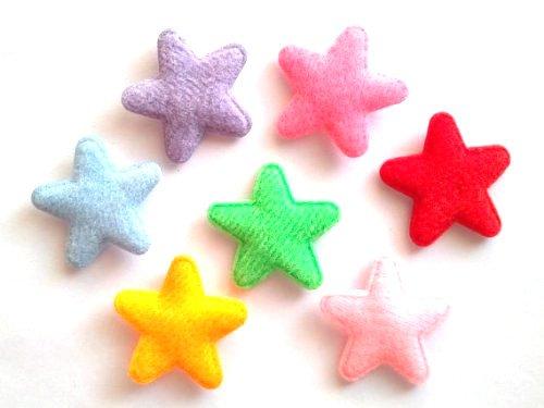100 Pcs Cute Felt Star Padded Appliques - Mix Color - Size 25 Mm