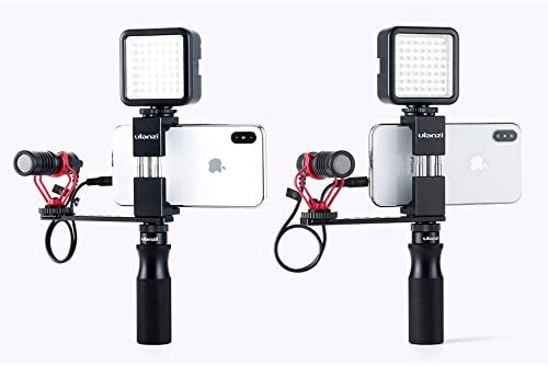 ROWEQPP Handle Grip with 1//4 Cold Shoe Mount Adapter for Microphone LED Light Vlogging Kit Live Audio Video Grip