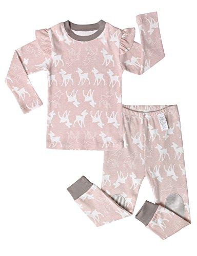 Unifriend 12M-7T Girls 100% Cotton Sleepwear Pajama Set Mini Bambi PINK US 4~5Y/Asia 120 (KGSPJ0107)