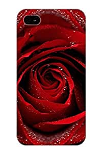 Christmas Day's Gift- New Arrival Cover Case With Nice Design For Iphone 4/4s- Dew On Red Rose