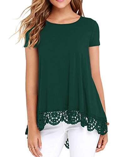 QIXING Women's Short Sleeve Casual Tops Lace Trim Tunic Loose Blouse A-Line Shirts Dark Green-S