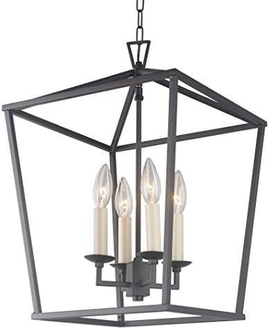 Cage Pendant Light Lantern Iron Art Design 4-Heads Candle-Style Chandelier Ceiling Light Fixture for Hallway Kitchen Dinning Room Bar Restaurant W 12.6 X H 18 Black